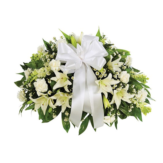 Half Casket Spray of flowers, all-white (BF328-11KM)